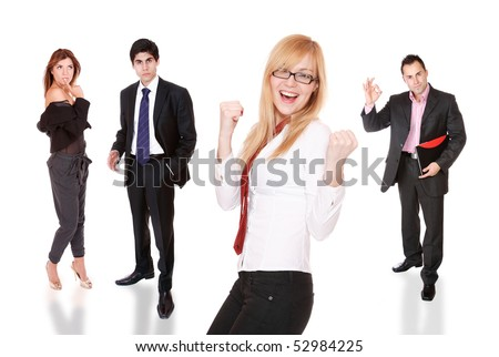 Business team posing over white background - stock photo
