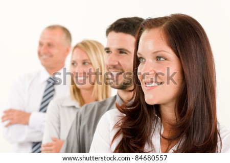 Business team professional people profile view looking aside bright future - stock photo