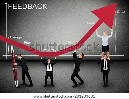 Business team push Feedback graphic arrow up - stock photo