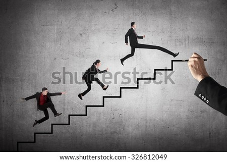 Business team race to the top stair. Business achievement concept