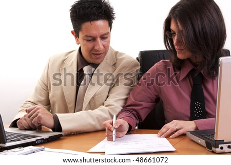 business team reviewing some documents at the office