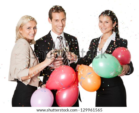 Business team selebrating success. Isolated on white - stock photo