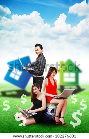 Business team selling the house : Elements of this image furnished by NASA