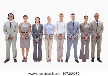 Business team side by side holding their hands against white background - stock photo
