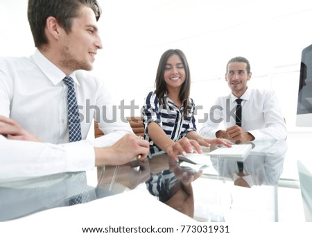 business team sitting at Desk