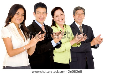 business team smiling and applauding while facing the camera over a white background - stock photo