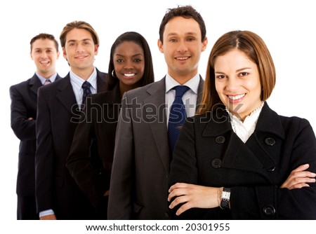 business team smiling isolated over a white background - stock photo
