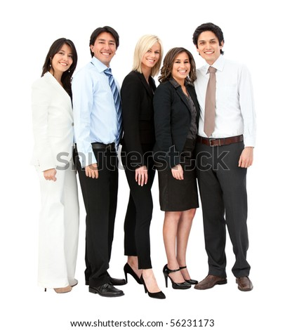 Business team smiling - isolated over a white background - stock photo