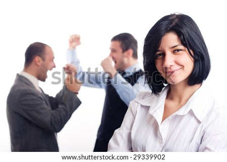 Business team - smiling woman in focus two happy business men in the background - stock photo