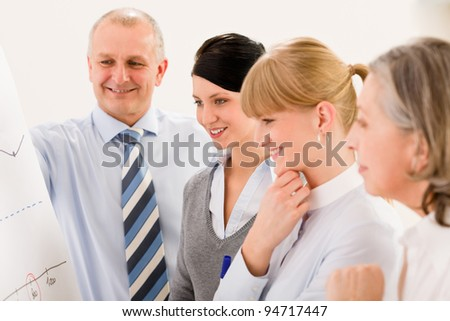Business team standing in front of flip chart giving presentation - stock photo