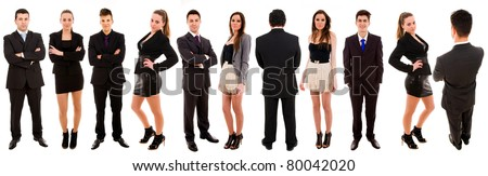 Business team standing over a white background.