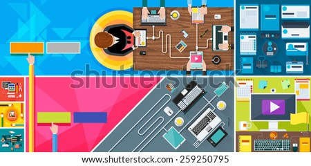 Business team strategy top view of desk with businessman hands. New technologies laptop, digital tablet, smartphone with usb cables ready connection and work on wood table flat design. Raster version - stock photo