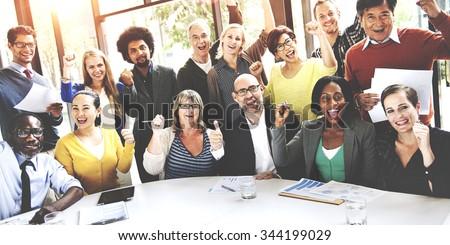 Business Team Success Achievement Arm Raised Concept - stock photo