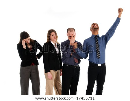 business team success and failure on white - stock photo