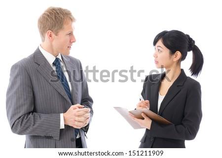 business team talking on white background - stock photo