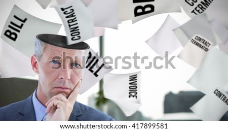 Business team thinking against documents are posing on the desk - stock photo