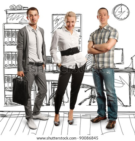 business team, two men and woman - stock photo