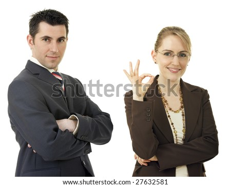 Business team. Two young successful businesspeople, isolated on white background.