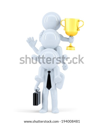 Business team winning a competition. Isolated on white. Contains clipping path - stock photo