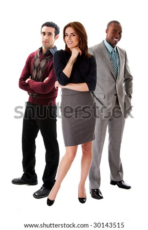 Business team with a beautiful Caucasian woman in front of an African and Caucasian men in suits, isolated - stock photo