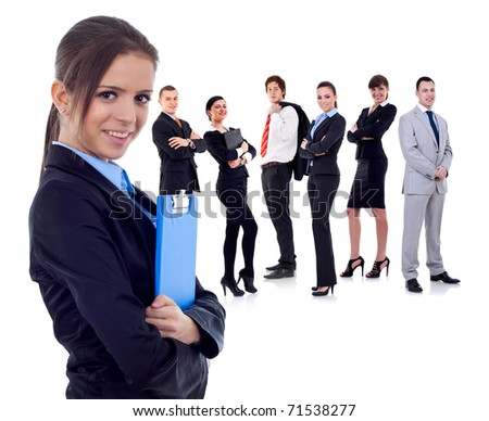 business team with a businesswoman holding a clipboard - isolated over a white background - stock photo