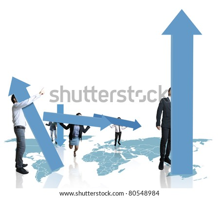 Business team with a chart or graph - stock photo