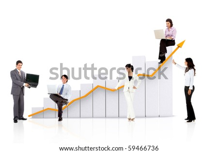 Business team with a chart or graph - isolated over a white background - stock photo