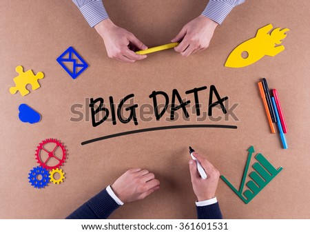 Business Team with a single word BIG DATA - stock photo