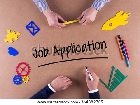 Business Team with a single word Job Application - stock photo