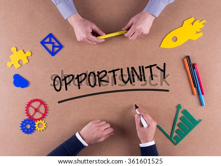 Business Team with a single word OPPORTUNITY - stock photo
