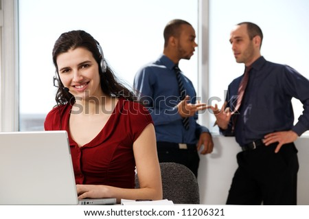 business team with a woman in the foreground