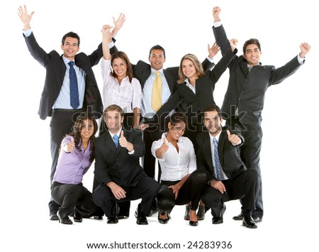 Business team with arms and thumbs up isolated over a white background - stock photo