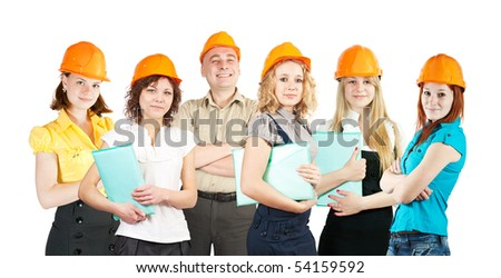 business team with documents on white background - stock photo