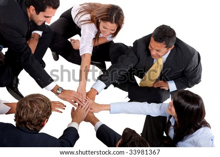 Business team with hands in the middle isolated - stock photo