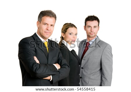 Business team with mature businessman leading the group isolated on white background - stock photo