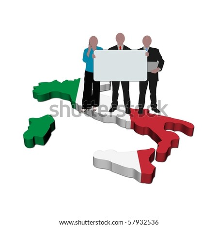 business team with sign on Italy map flag illustration