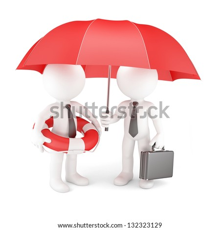 Business team with umbrella and life buoy. Business safety concept - stock photo