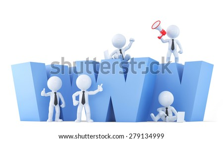 Business team with WWW sign. Isolatedon white. Contains clipping path. - stock photo
