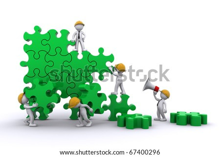 Business team work building a puzzle. Building business concept. Isolated - stock photo