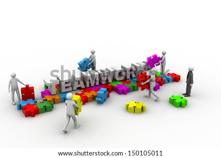 business team work building a puzzle. Business developing concept - stock photo