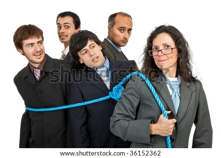 business team work concept, focus on the woman - stock photo