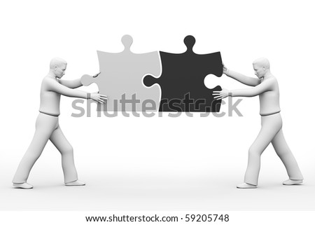 Business team work - puzzle pieces made in 3d over white - diverse people - stock photo