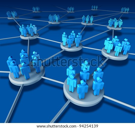 Business Team work success as a communication network on blue with business people working in partnership in connected networking teams as a financial telemarketing concept in a web to succeed. - stock photo