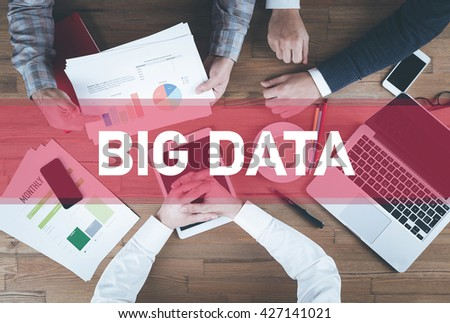 Business team working and Big Data concept - stock photo
