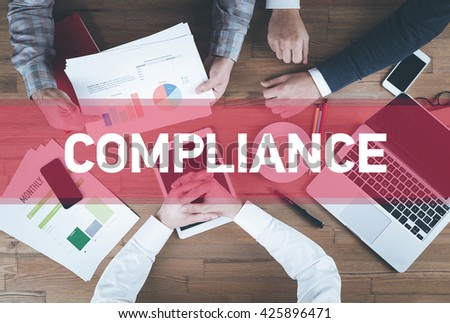 Business team working and Compliance concept - stock photo
