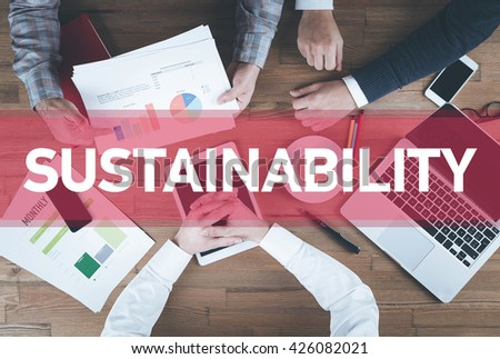 Business team working and Sustainability concept - stock photo