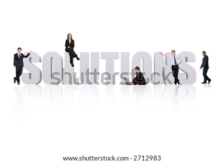 business team working around the word solutions - stock photo
