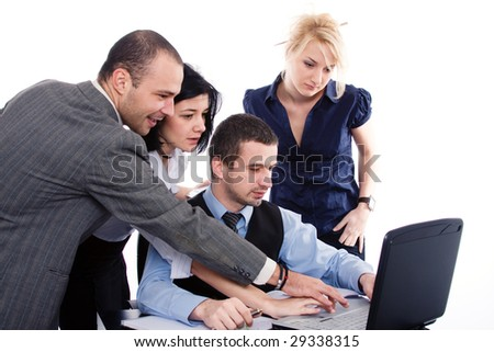 Business-team working in the office, surrounding the boss - stock photo