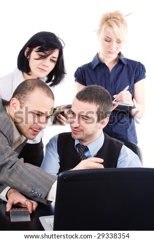 Business-team working in the office, surrounding the boss