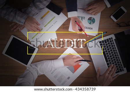 BUSINESS TEAM WORKING OFFICE  Audit TEAMWORK BRAINSTORMING CONCEPT - stock photo